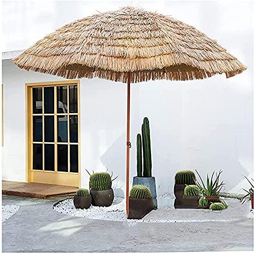 HHORB Ombrellone da Spiaggia in Paglia, Parasole Impermeabile con Funzione di Inclinazione, Ombrellone da Spiaggia Hawaiano, Ombrellone in Paglia da Esterno per Giardino E Piscina, B,B