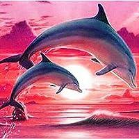 ナンバーキットによるDIY5Dダイヤモンド絵画、家の壁の装飾とギフトのためのクリスタルラインストーン刺繡写真アートクラフト,Dolphin 30x30cm