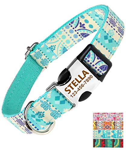 Taglory Heavy Duty Dog Collar Personalized, Quick Release Buckle Engraved with Name and Phone Number, Custom Girl & Boy Collars for Extra Small Dogs, 8-12 Inches Teal Blue