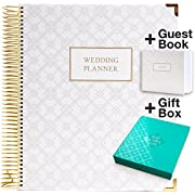 Wedding Planner Gift Set for The Bride to Be: 9x11 Hardcover Wedding Planner and Organizer, Gift Box, Guest Book, Bookmark, Planning Stickers, Business Card Holder, and Pocket Folders