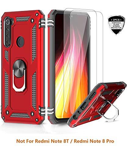 LeYi für Xiaomi Redmi Note 8 Hülle mit Panzerglas Schutzfolie(2 Stück),360 Grad Ring Halter Handy Hüllen Cover Magnetische Bumper Schutzhülle für Hülle Xiaomi Redmi Note 8 Handyhülle Rot
