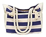 Malirona Beach Canvas Travel Tote Bag (Blue Stripes)