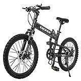 DJYD Kinder Folding Mountainbike, 20 Zoll 6 Gang Scheibenbremse Leichtgewichtler Falträder, Aluminium Rahmen faltbares Fahrrad, Gelb FDWFN (Color : Black)