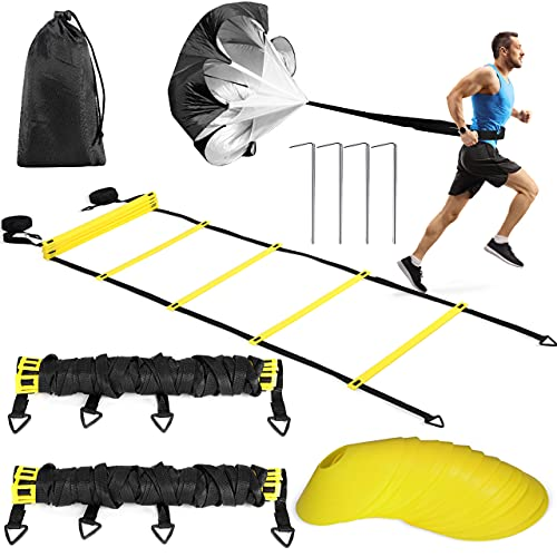 Buluri Fitness Agility Ladder & Sport Speed Training Set - 2 Agility Ladders,12 Disc Cones, 4 Metal Hooks,1 Resistance Parachute,1 Carry Bag – Exercise Workout Equipment for Outdoor Workout