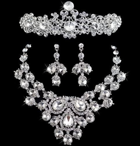 WOFEI Tiara Corona Nupcial 3 Juegos Vestido De Novia De Alta Gama con Diamantes De Imitación Pendientes Collar Fiesta De Cumpleaños Mostrar Accesorios,7