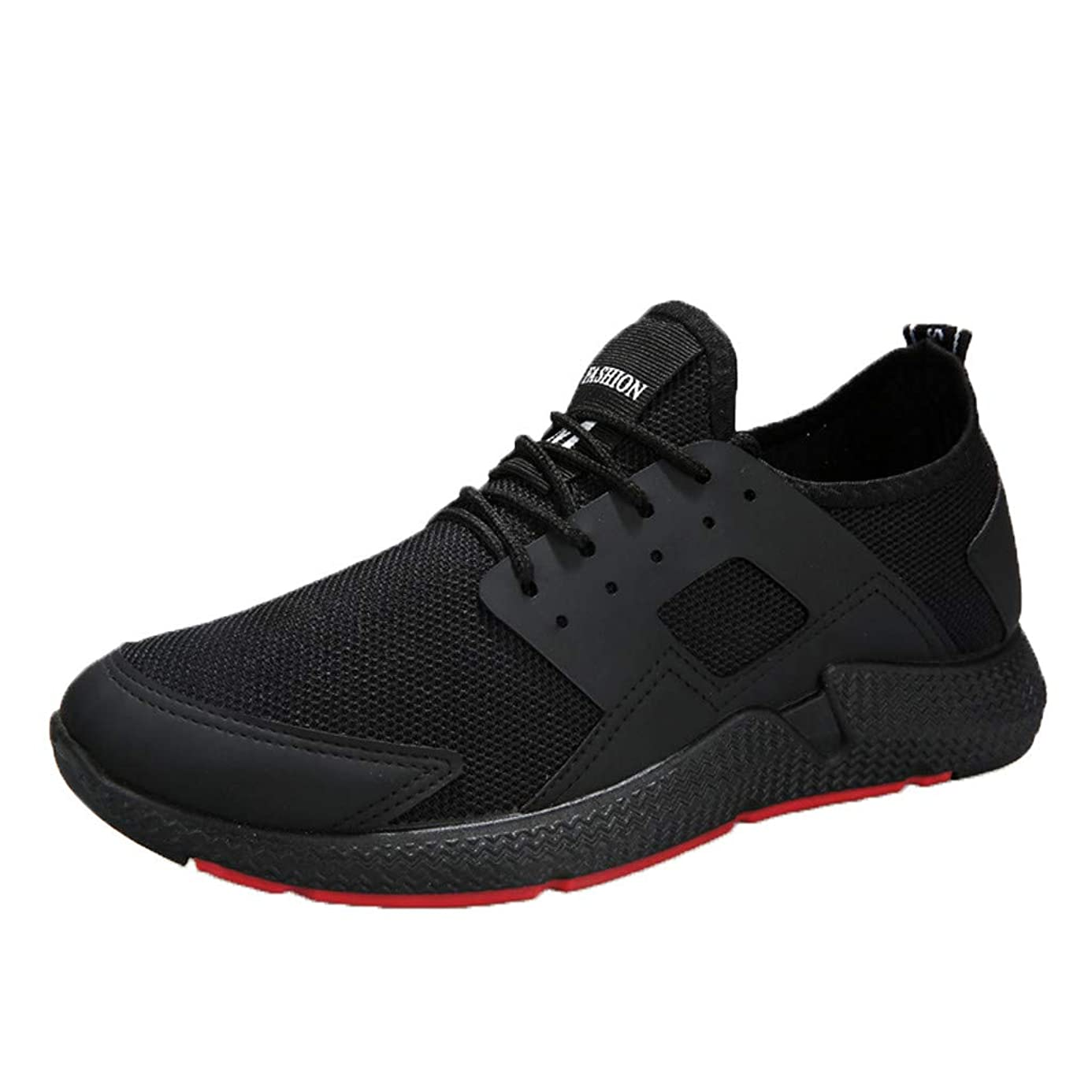 Mosunx Athletic Men's Breathable Sneakers, Boys Sport Running Shoes Lightweight Lace-Up Soft Sole Stretch Gym Track Training Shoes Size 7-9.5 Trail Non-Slip Movement Shoes (42, Black)