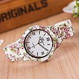 OWZSAN Mujeres Moda Ginebra Floral Plástico Flor Pulsera Cierre Relojes Mujeres Vestido Vestido Cuarzo Relojes De Pulsera Relogio Feminino Reloj Reloj Digital (Color : 1)