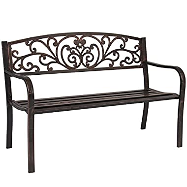 Best Choice Products 50  Patio Garden Bench Park Yard Outdoor Furniture Steel Frame Porch Chair Bronze