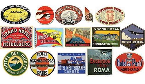 Étiquettes pour bagages Vintage hôtel Stickers Lot de 15 autocollants de valise de voyage