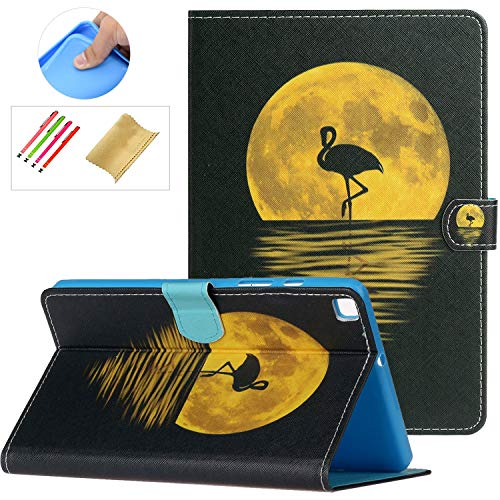SM-T290 SM-T295 Case with Stylus Holder,Galaxy Tab A8 Case 2019, PU Leather Anti-Scratch Protective Flip Stand Wallet Card Slots Cover for Samsung Galaxy Tab A 8.0' 2019 without S Pen Model, Flamingo
