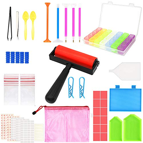 60 Pieces 5D Diamond Painting Tools, PETUOL DIY Painting Accessories Diamond Cross Sticky Clay for New Year Craft, Tray Kits and Fix Tool Diamond Painting Roller Embroidery Box for Adults or Kids