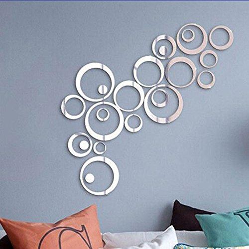 Stonges Adesivi murali specchio 3D cristallo acrilico cerchio stereo adesivi murali fai da te soggiorno camera da letto murale (argento)
