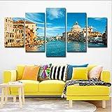 FLWHDZW 5 Paneles Venecia Italia Pintura De Paisaje Agua Ciudad Decoración del Hogar Sala Arte De La Pared-20X35Cmx2/20X45Cmx2/20X55Cmx1