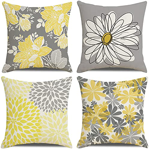 KUNQIAN Kissenbezüge, grau-gelbe Blumenkissen, langlebig, dickes Kissen, senffarben, Leinen, für den Außenbereich, Garten, 45 x 45 cm, 4 Stück