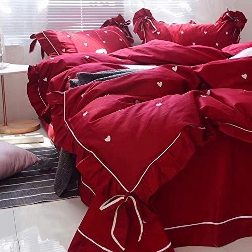 QIANSHI Große rote authentische Hochzeitsfeier im koreanischen Stil, vierteilige Stickerei, die Bettwäsche aus Reiner Baumwolle liebt