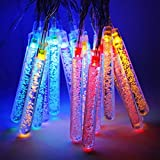 Solar LED Crystal Ice Cone String Lights, 20 LED Waterproof Outdoor Decorative LED String Lights Energy-Saving Lanterns 8 Color Changing Modes for Party, Christmas, Halloween, Garden, Patio Outdoor