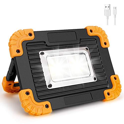 Coquimbo Faro Luce LED Portatile, 10W 750LM LED Lampada da Lavoro Ricaricabile Impermeabile, 4 Modalità Regolabili Lampada da Campeggio di Emergenza for Riparazione, Escursionismo etc (1 Pack)