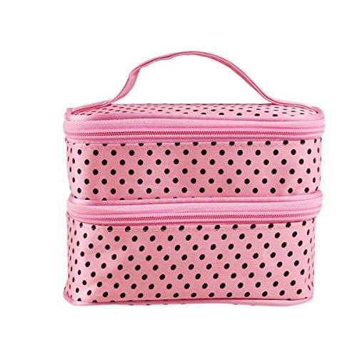 WINOMO Pochette per Trucchi Donna Trousse Organizer Borsa Beauty Case da Viaggio (Rosa)