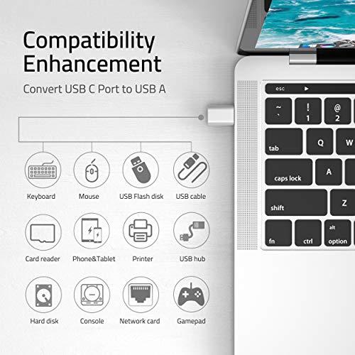 Syntech USB C Adapter auf USB 3.0 [2 Stücke] OTG USB Typ C Adapter,Thunderbolt 3 to USB 3.1/3.0/2.0,Kompatibel mit MacBook Pro, MacBook Air,Samsung Galaxy,OnePlus,Huawei,Surface-Silber
