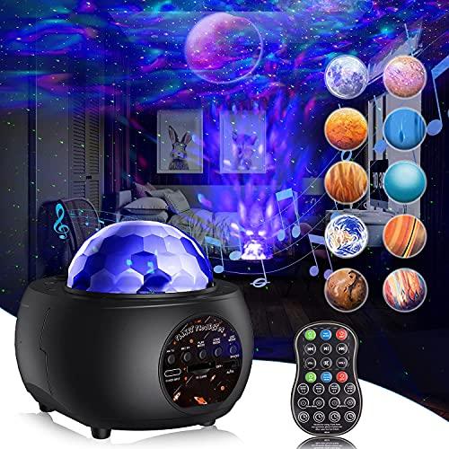 Lampe Projecteur Étoile, Gvoo Projecteur Ciel Etoile 32 Modes 10 Planètes, Lampe Projecteur LED Océan Starry Veilleuse Enfant Luminosité Réglable Bluetooth avec Télécommande Minuterie pour Bébé Adulte