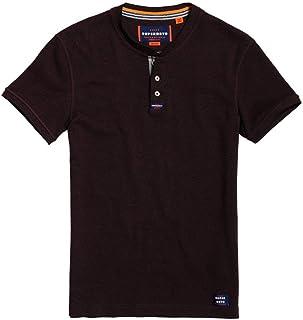 Superdry Men's Heritage Short Sleeve Grandad Shirt, Buck Burgundy Feeder