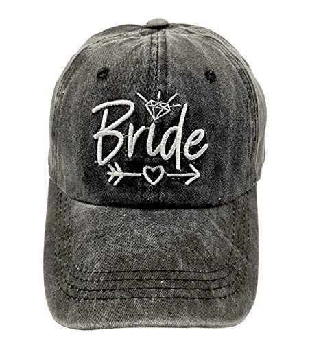 LOKIDVE Bride Baseball Cap Embroidered Washed Cotton Denim Hat for Wedding Party Black