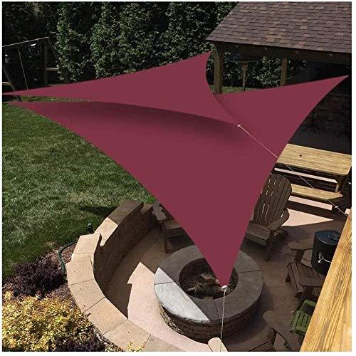 H.ZHOU Parasol triángulo anti-UV para exteriores, terraza, fiesta, protección solar, 3,6 x 3,6 x 3,6 m, burdeos 0917