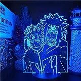 Luz de noche para niños 3D luz ilusión lámpara Uzumaki Naruto acrílico 3D lámpara Jiraiya Led 16 color niños dormitorio decoración luz anime lámpara de mesa Xams regalo