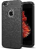 Jotech® Leather Textured Autofocus Soft Back Case Cover for Apple iPhone 5/5S/SE (Black)