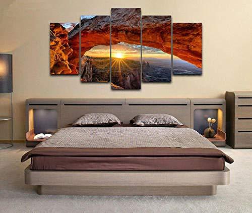 QWASD 5 Paneles Pintura Pared -imágenes de al óleo para decoración Moderna para el hogar 5 Piezas Mural Fotos paraSalon,DormitorioMural Paisaje de Utah del Parque Nacional Arches Enmarcado