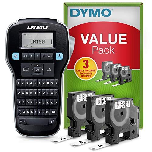 Dymo LabelManager 160 kit de iniciación de etiquetadora | Impresora de etiquetas portátil | Con 3 rollos de cinta de etiquetas Dymo D1 | Teclado QWERTY | Ideal para uso doméstico o de oficina