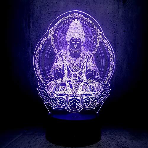 DFDLNL Buda USB 3D Ambiente de luz Nocturna Bombillas LED Luminaria Noches Lámpara Navidad Regalos de cumpleaños Mesa RGB Lamparas