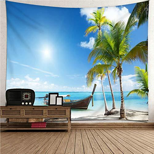 Aimsie Wandteppich, Sommerthema Meer, Boot Und Kokosnussbaum Wandtuch Zimmer Polyester Wandteppich Wald Wanddeko Kinderzimmer Blau 240X220Cm