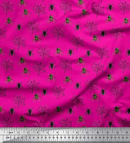 Soimoi Rose Soie en Tissu Web et araignée Insecte Tissu Imprime 1 Metre 42 Pouce Large