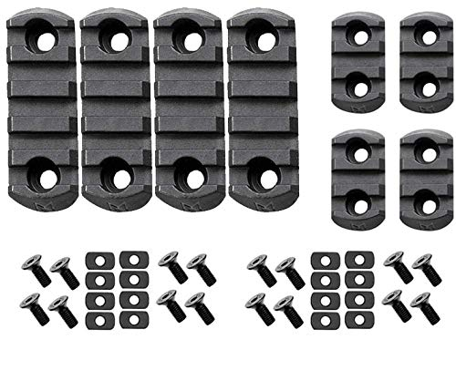 Gotical Combo of (3-Slot & 5-Slot) M-LOK Picatinny Rail Section Adapter Super Value Pack M-LOK Handguard with Set of Screws M-LOK Picatinny Accessory Rail (Pack of 8 Pieces- Black)
