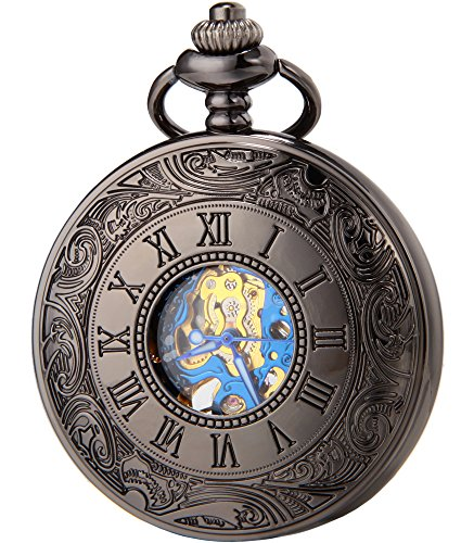 SEWOR Vintage hueca tallado flores mecánica mano viento reloj de bolsillo + banda piel caja (azul negro)