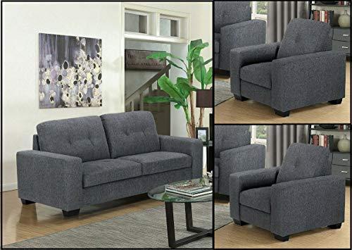 GREY Modern Fabric Material 3 Seater Sofa + 2 Armchairs Suite UTAH (3+1+1)