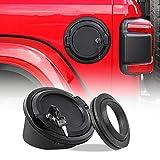 Fuel Filler Cover JeCar Locking Gas Tank Door Aluminum Exterior Accessories for 2018-2019 Jeep Wrangler JL & Unlimited