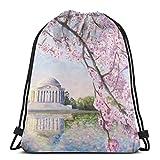 Hangdachang Sac à dos avec cordon de serrage style tatouage japonais - Pour esquisse originale - Motif floral de cerisier