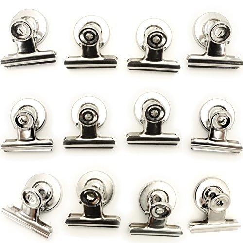 igadgitz Home U6841 Magnet Clips (12 Klammern pro Pack) Magnet Klammer für Memos, Photos, Coupons, Tickets, Bilder, Notizen, Rezepte - Organisieren Sie Heim, Küche, Büro oder Klassenzimmer - Silber