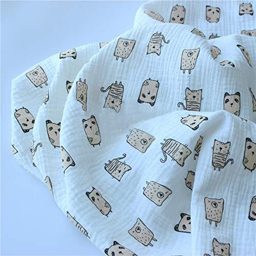 二重ガーゼ 100%コットン サイズ:135cm*100cm 猫の絵柄 白い ダブルガーゼ 無地 生地 手作り 裁縫 ハンドメイド 可愛い動物柄 手作りキット オーガニック 用品…