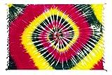 Kascha Sarong Pareo Dhoti Lunghi ca. 170cm x 110cm Rot Gelb Grün mit Batik Motiv Tie Dye Handgefertigt und Kokosnuss Schnalle im Schmetterling Design