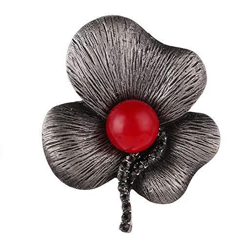 Miss charm Belle Personnalité Trois Feuilles De Diamants Broche Lotus Vêtements Sauvages Red Pearl Brooch Broche Foulard Soie Double-Usage