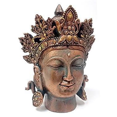 Bellaa 54665 Stunning Buddha Statue Head Bust Quan Yin Kwan Yin Kuanyin Tibet Meditating Peace Harmony Bronze