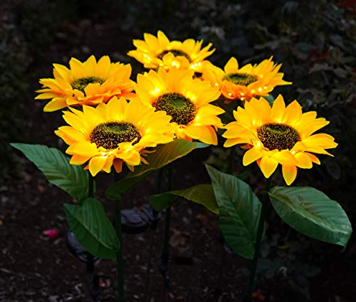 Solar LED Outdoor Lights | Sunflower Garden Lighting, (2...