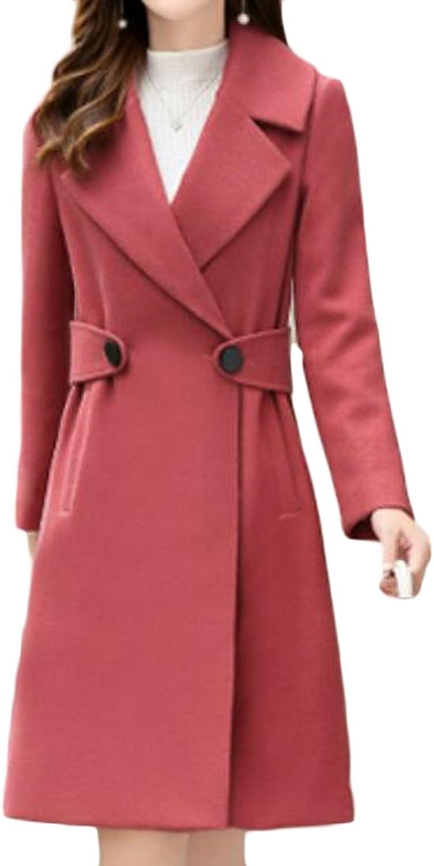 Pandapang Womens Casual Lapel DoubleBreasted WoolBlend Winter Pea Coat