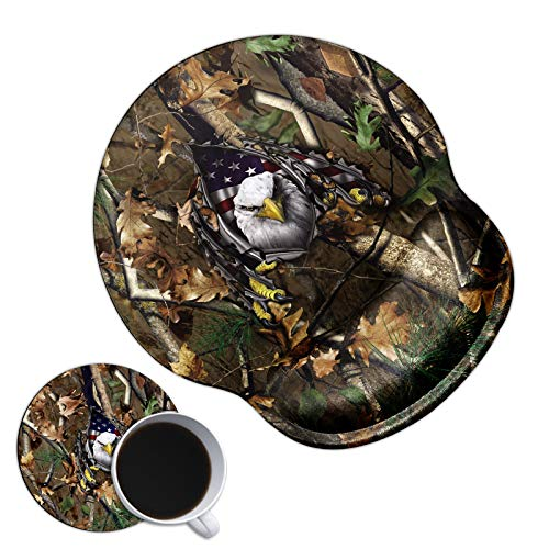 Dikoer Gaming Mouse Pad with Wrist Support Gel Ergonomic Cute Mousepad with Wrist Rest Non-Slip Pain Relief Comfort Mouse Mat for Laptop Internet Working Home Office & Coasters, Eagle on Camo Tree