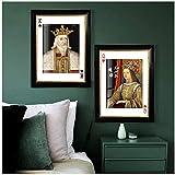 un known Cuadros Decoracion Salon Vintage Poker King Queen Figure Wall Art Poster Prints Galería Imagen Interior Decoración del hogar 19.7x27.6in (50x70cm) x2pcs Sin Marco