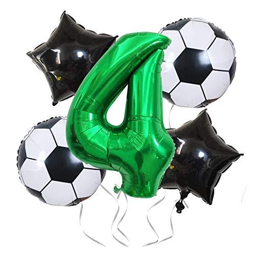 JSJJAET Globos de cumpleaños Foil Blowons Fiesta de cumpleaños Decoraciones de fútbol Balloons Baby Shower Ballon Decor Número Globo (Color : Set B-Number 4)