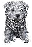 Steinfigur Hund Schäferhund Welpe, Frost- und wetterfest bis -30°C, massiver Steinguss